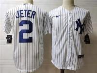 New York Yankees #2 Derek Jeter Nike White With Name Cool Base Baseball Jersey